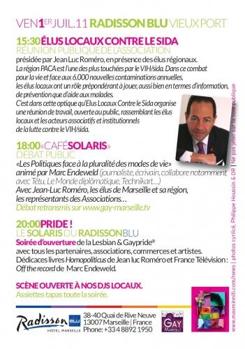 1 juillet Romero Gay pride Marseille programme.JPG