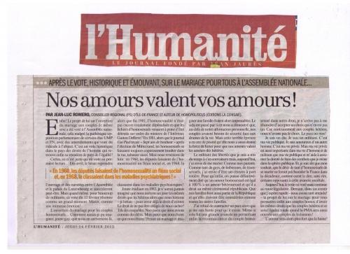 l'humanité,jean-luc romero,homosexualité,poiltique,france