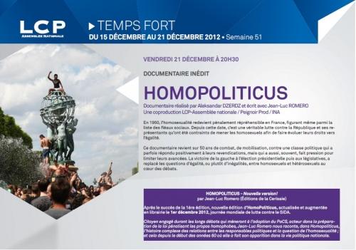 homopoliticus,jean-luc romero,homosexualité,lcp-an,politique,france