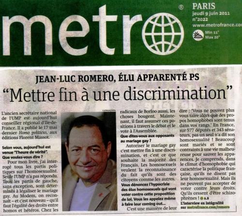 Metro France - 9 juin 2011 Romero Homopoliticus.jpg