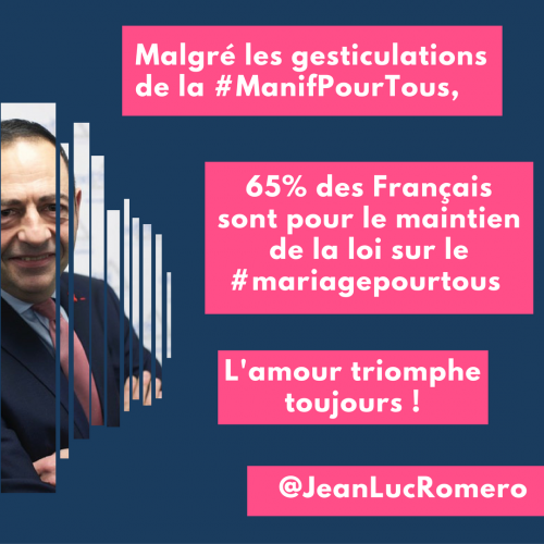 Malgré les gesticulations de la #ManifPourTous,65% des Français pour le maintien de la loi sur le #mariagepourtous </p> </section> <section class=